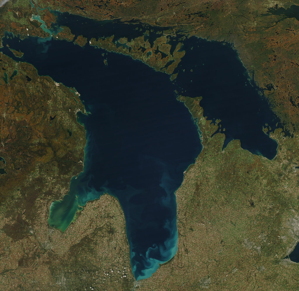 mapa del lago huron