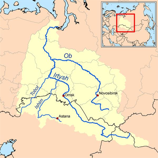 mapa del rio Ob