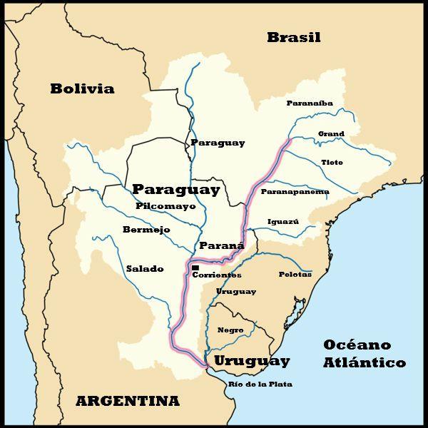mapa del rio parana