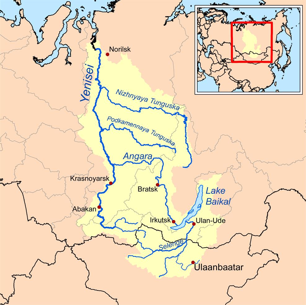 mapa del rio yenisei