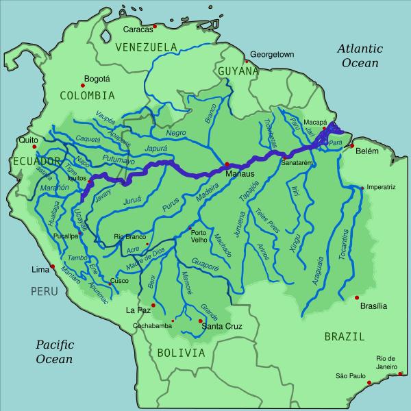 mapa del rio amazonas