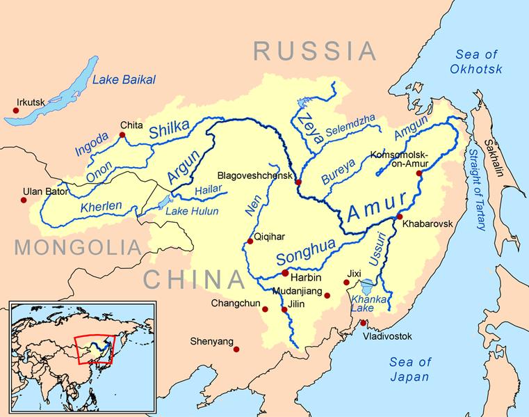 mapa del rio amur