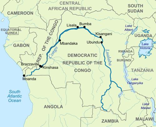 mapa del rio congo