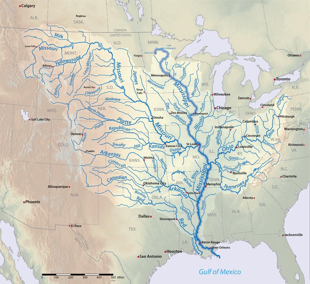 mapa del rio mississipi